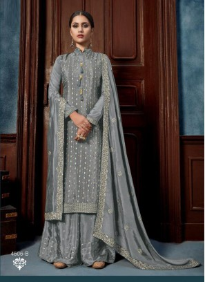 Embroidery Chinon Salwar Kameez With Designer Palazzo In Grey
