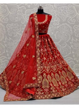 Embroidery Designer Bridal Lehenga Choli In Red