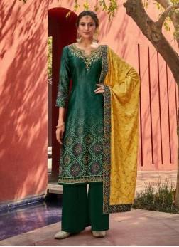 Embroidery Designer Jam Satin Salwar Suit In Green - Yellow