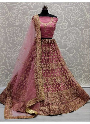 Embroidery Designer Net Lehenga Choli In Peach Pink