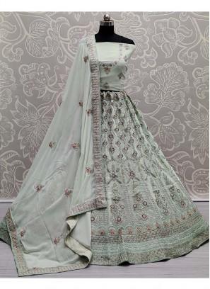 Embroidery Georgette Wedding Lehenga Choli In Sea Green