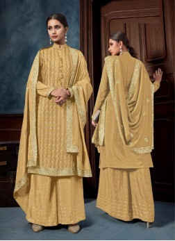 Embroidery Straight Suit With Palazzo In Gold