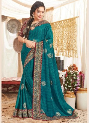 Embroidery Work Blouse With Art Silk Saree In Teal