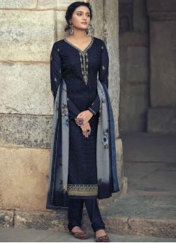 Embroidery Work Churidar Salwar Suit In Black
