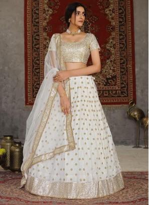 Embroidery Work On Net Lehenga Choli In Peaceful White Colour