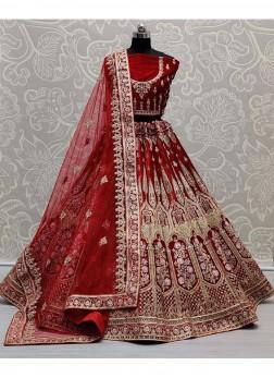 Embroidery Work On Velvet Lehenga Choli In Red For Pretty Bridal