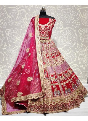 Enchanting Baarat Style Heavy Handwork Touch up Pink Bridal Lehenga Choli