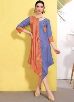 Enchanting Cotton Blue and Orange Fancy Party Wear Kurti