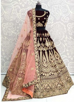 Enchanting Wedding Wear Thread & Dori Work On Lehenga Choli In Maroon