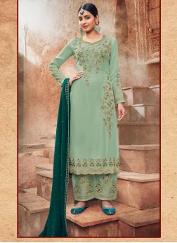 Engagement Embroidery Work On Georgette Salwar Suit In Cadet Blue