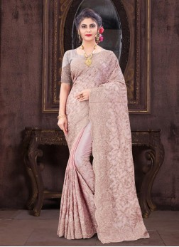 Engagement Wear Amazing Embroidery Work On Saree In Dusty Pink