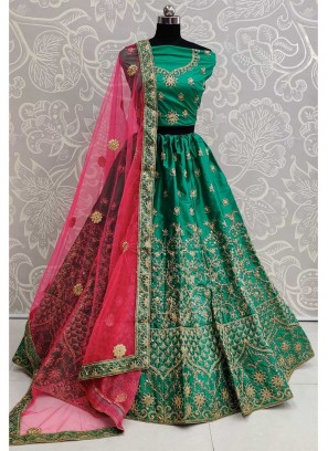 Engagement Wear Opulent Embroidery Work Silk On Lehenga Choli In Green