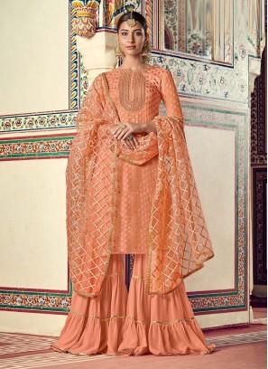 Engaging Designer Work On Viscose Sharara Style In Peach