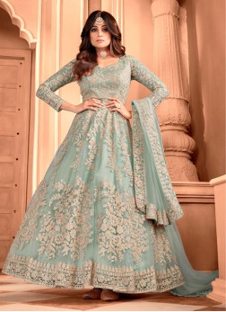 Engaging Gray Butterfly Net Designer Gown With Dupatta