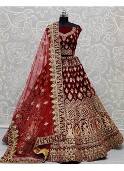 Engaging Velvet Bridal Lehenga Choli in Maroon Color