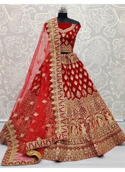 Engaging Velvet Bridal Lehenga Choli in Red Color
