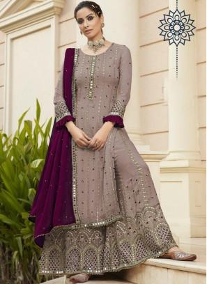 Engaging Wedding wear Embroidery Work On salwar suit In Cream - Wine