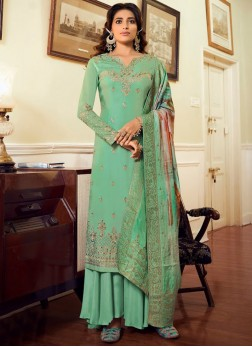 Engaging Zari & Crystal, Digital Printed Dupatta With Salwar Suit In Green