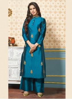 Engrossing Art Silk Blue Zari Party Wear Kurti