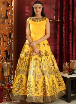 Engrossing Art Silk Yellow Embroidered Designer Gown