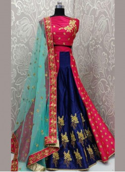 Engrossing Embroidered Art Silk Lehenga Choli