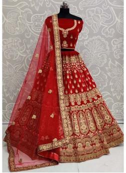 Engrossing Embroidered Velvet On Lehenga Choli In Red