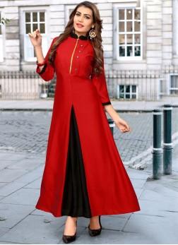 Engrossing Fancy Red Rayon Party Wear Kurti