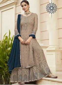 Engrossing Mirror Work Sharara Style Salwar Suit I