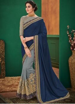Enthralling Blue and Grey Embroidered Half N Half Designer Saree
