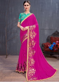 Enthralling Georgette Pink Lace Classic Saree