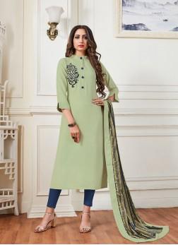Enthralling Green Plain Designer Kurti