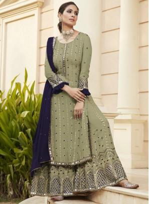 Enthralling Mirror Work Wedding Wear Salwar Suit In Olive Green - Navy Blue