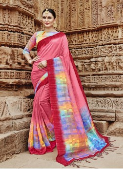 Enthralling Multi Colour Abstract Print Khadi Silk Printed Saree