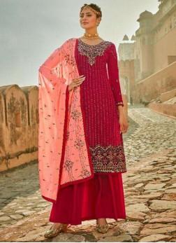 Entice Thread Work On Georgette Pakistani Wear Salwar Suit In Rani