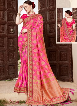 Enticing Art Silk Patch Border Designer Traditional Saree