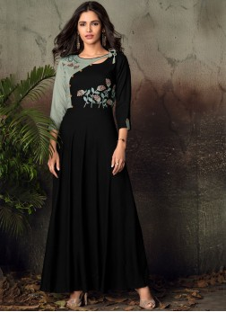 Enticing Black Party Party Wear Kurti