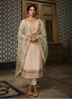 Enticing Cream Festival Salwar Kameez