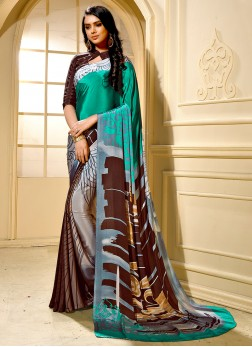 Enticing Faux Crepe Casual Trendy Saree