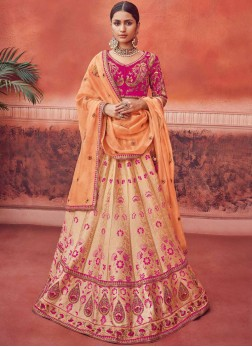 Enticing Peach Wedding Lehenga Choli