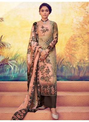 Enticing Resham Work On Palazzo Style Suit In Multi