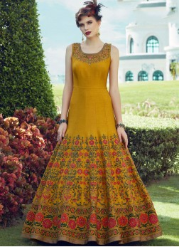 Enticing Yellow Party Anarkali Salwar Suit