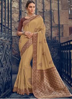 Entrancing Beige Poly Silk Designer Saree