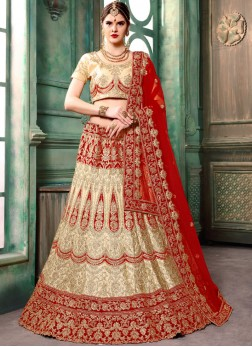 Entrancing Cream Zari Lehenga Choli