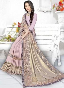 Entrancing Fancy Pink Saree