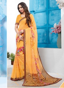 Epitome Abstract Print Faux Georgette Multi Colour Printed Saree
