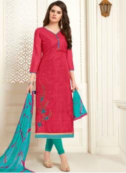 Epitome Embroidered Cotton Rose Pink Churidar Designer Suit