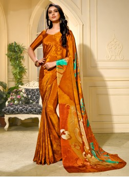 Especial Printed Rust Faux Crepe Trendy Saree