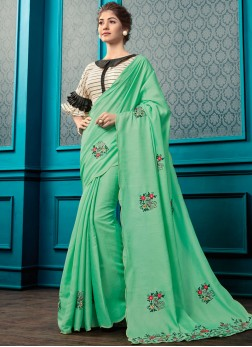 sea Green Georgette Designer Saree and Blouse