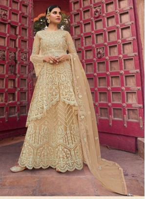 Ethic Embroidery Net Salwar Suit With Palazzo In Off White