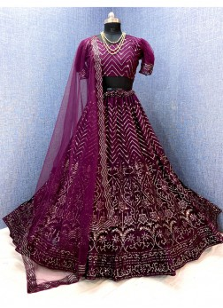 Ethnic Design Net Embroidered Ghagra Choli In Purp